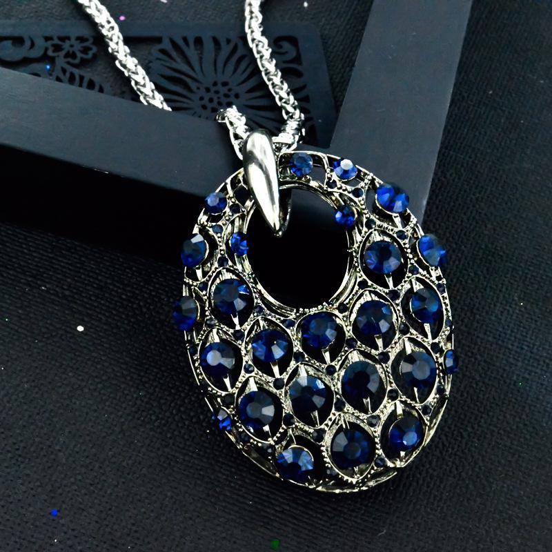 collar de la moda salvaje accesorios femeninos de Europa y América pendant712 simples geométrico del diamante de la cadena suéter largo de huecos