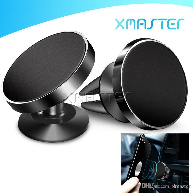 Magnetic Car Air Vent Mount 360 degrés de rotation universel pour téléphone Support pour iPhone 11 Pro Remarque Samsung 10 Android Avec Retail Package xMaster