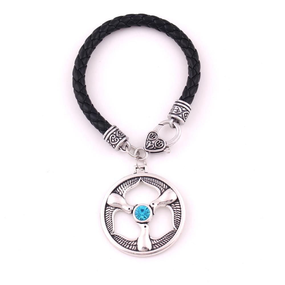 Huilin Jewelry Rhiannon Three Birds Pendant Welsh Goddess Birds Crystal Religious Amulet Leather Rope Bracelet
