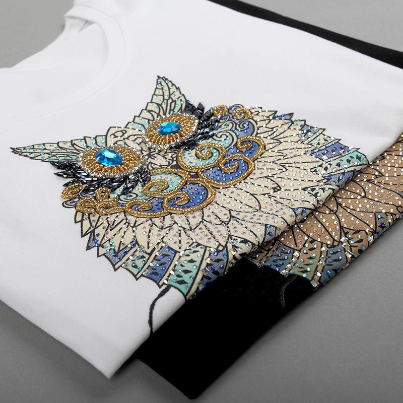 New Fashion Vintage Summer T Shirt Women Clothing Tops Beading Diamond Sequins Animal Owl Print Tees Woman Clothes Plus Size