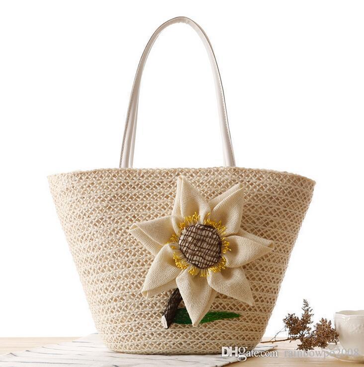Factory wholesale brand new fashion hand woven bags beach bag summer Straw Beach Bag hand woven sunflower woman single shoulder bag