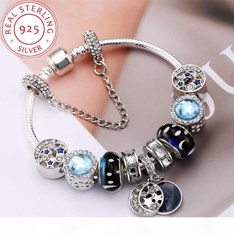 Blue Star Neuer Kristall-DIY Perlen Armband für Frauen-Snap Schmuck Mädchen Charme 925 Silber Kreuz Armbänder Reiz Pandora mit Geschenk-Box Wulst
