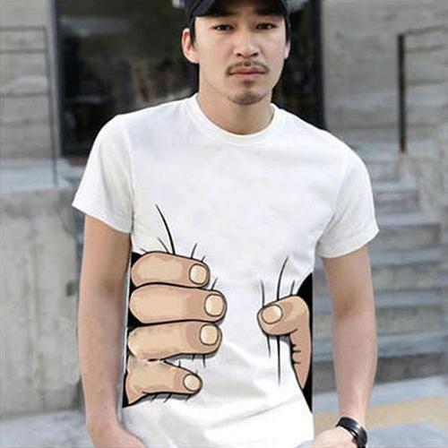 Creative 3D Big Hand Bone Print Camiseta de manga corta Camiseta Moda de verano Top casual dropshipping masculino