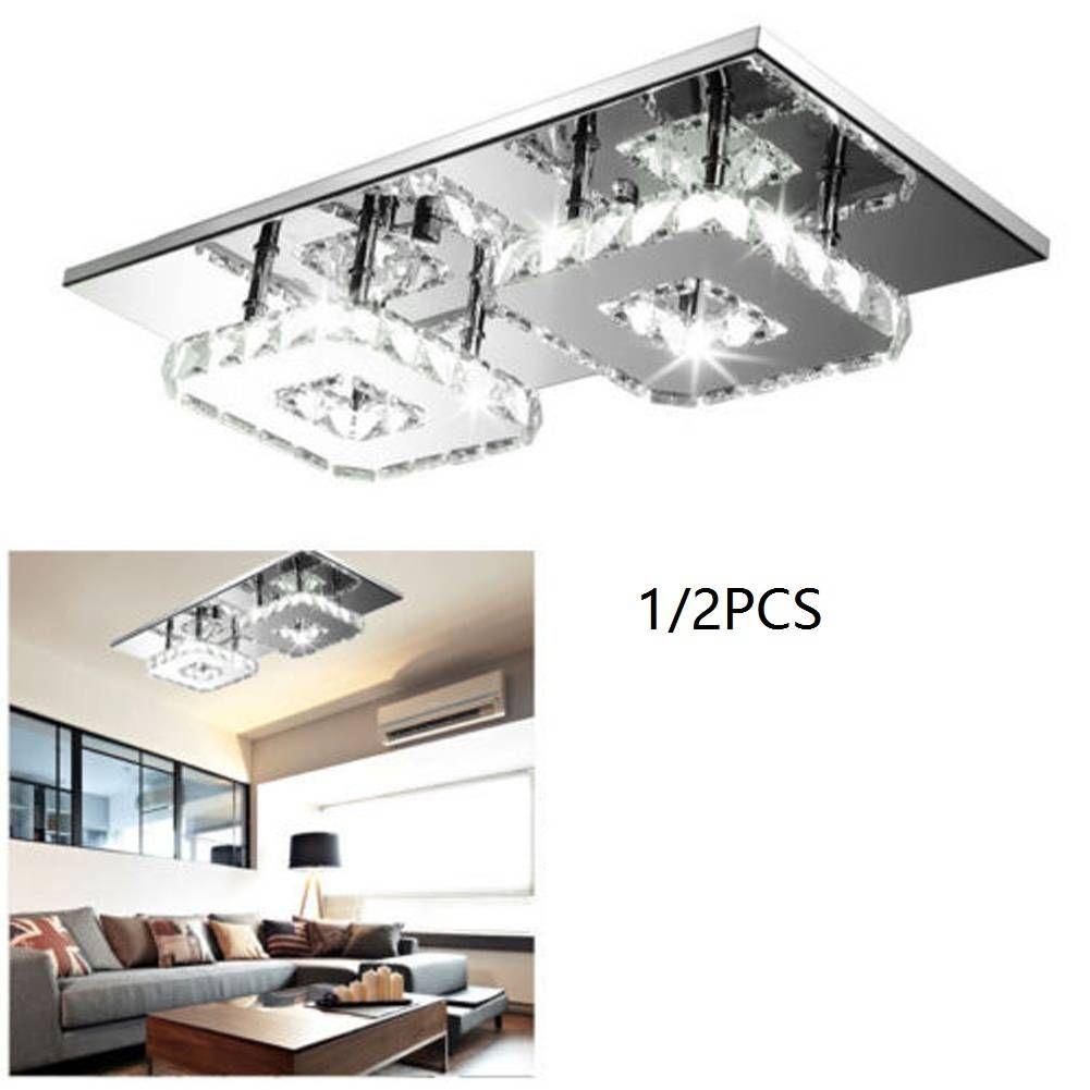 US STOCK Square Ceiling Lights LED Crystal Aisle Lamp Ceiling Light Fixture Hall Room Hallway White US