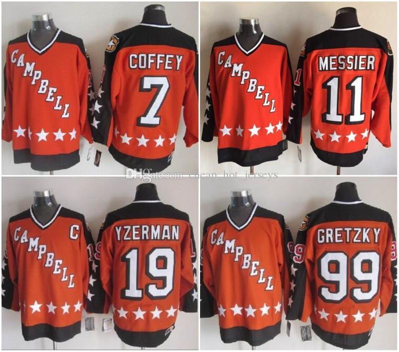 1984 Campbell All Star Game 19 Steve Yzerman 11 Marca Messier 99 Wayne Gretzky 7 Camisas de Hóquei Paul Coffey Laranja Costurado camisas