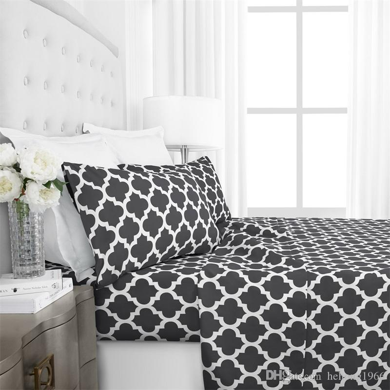 Printing Four Piece Suit Bedding Sets Navy Blue Geometry Urban Strip  Lattice Bed Comforters Sets Hot Sale 66 71wo4 E1 Bedding Set Sale King Size  Duvet ...