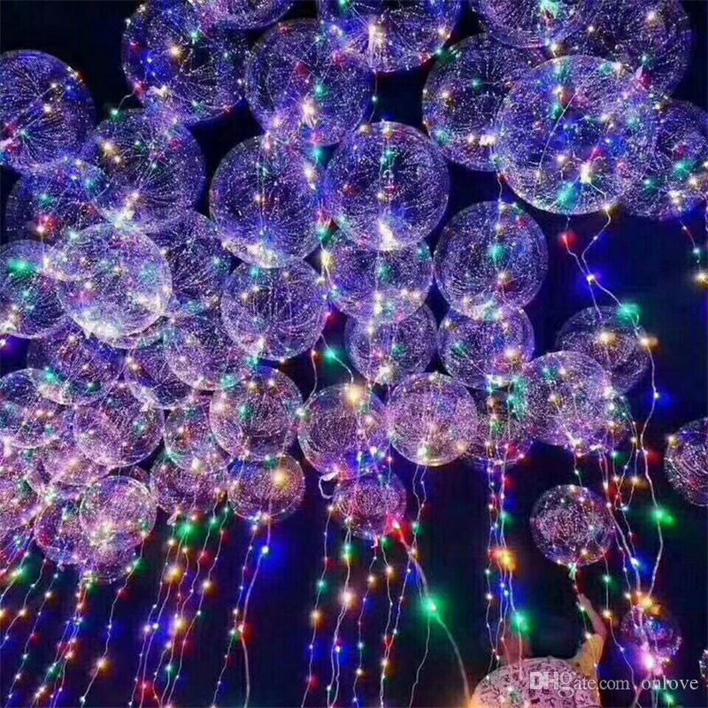 Griff Led Bobo Ballon Luminous Transparent Helium Ballons Hochzeit Geburtstag Partydekoration für Kinder LED-Licht-Ballon-DHL 18-Zoll-XD22181