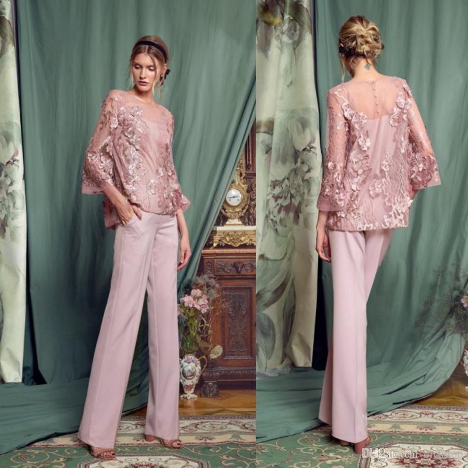 Elegant Pink Pantsuits Mother Of The Bride Dresses Jewel Neck Long Sleeves Lace Prom Dress Chiffon Pants Formal Wedding Guest Gowns Cheap