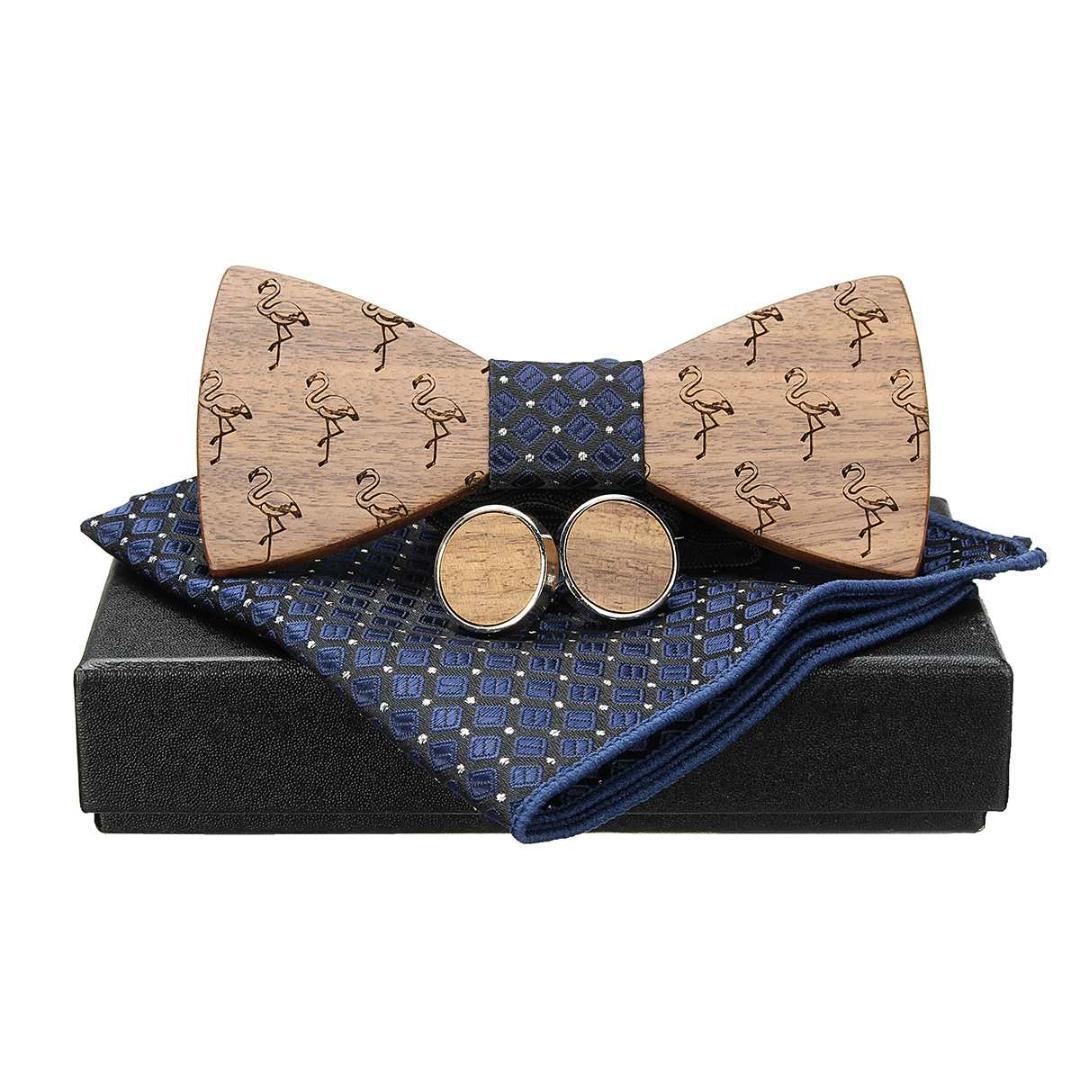 Wooden Bow Tie Men/'s Gifts Fashion Wedding Tuxed Bowtie Necktie Novelty Sets+Box