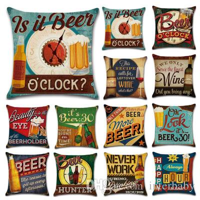 Beer Bottle Pillow Case Retro Pillow Covers Letter Print Cushion Sofa Nap Covers Linen Pillow Cushion Cover Home Decorative YFA777