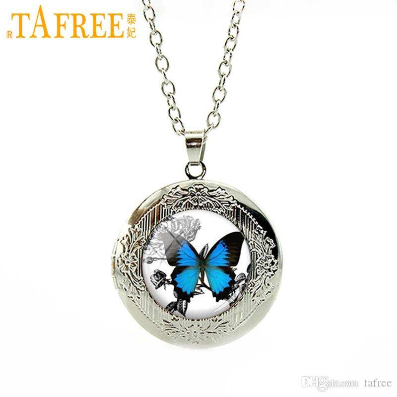 TAFREE Vintage Blue Butterfly Necklace Insect Picture locket Pendant Charm Gifts for Women Glass Photo Necklace jewelry N467