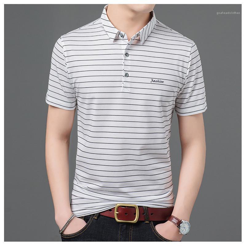 Stampato manica corta Tees contrasto di colore di modo gira giù Mens Tops Mens Designer Polo a righe e Letter