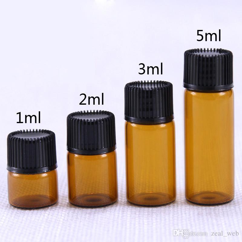 1ML / 2ML العنبر زجاج الزيوت العطرية زجاجة عينة زجاجات قوارير زجاجات البسيطة إعادة الملء الزجاج الكيمياء الكيمياء مختبر ، كولون لكل