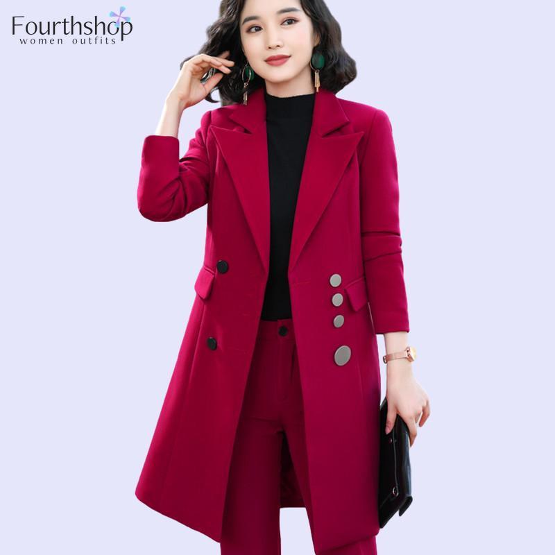 Largas de la moda Blazer Juego de Mujer Trajes Uniformes Oficina Señora de trabajo de negocios Otoño Invierno Trajes Pant formal más el tamaño de las chaquetas femeninas