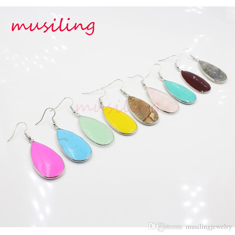 Water Drop Dangle Earrings Jewelry For Women Silver Plated Natural Gem Stone Accessories European Fashion Jewelry
