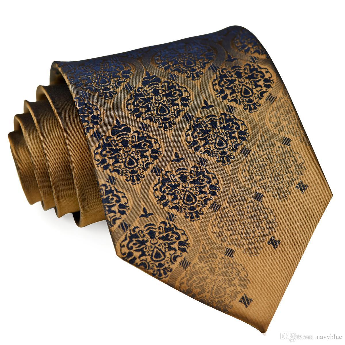 K13 اليدوية الصلبة الزهور الذهب البني برونزية الأزرق الداكن رجل العلاقات ربطات العنق المنديل 100٪ الحرير الجاكار المنسوجة التعادل مجموعات شحن مجاني بالجملة