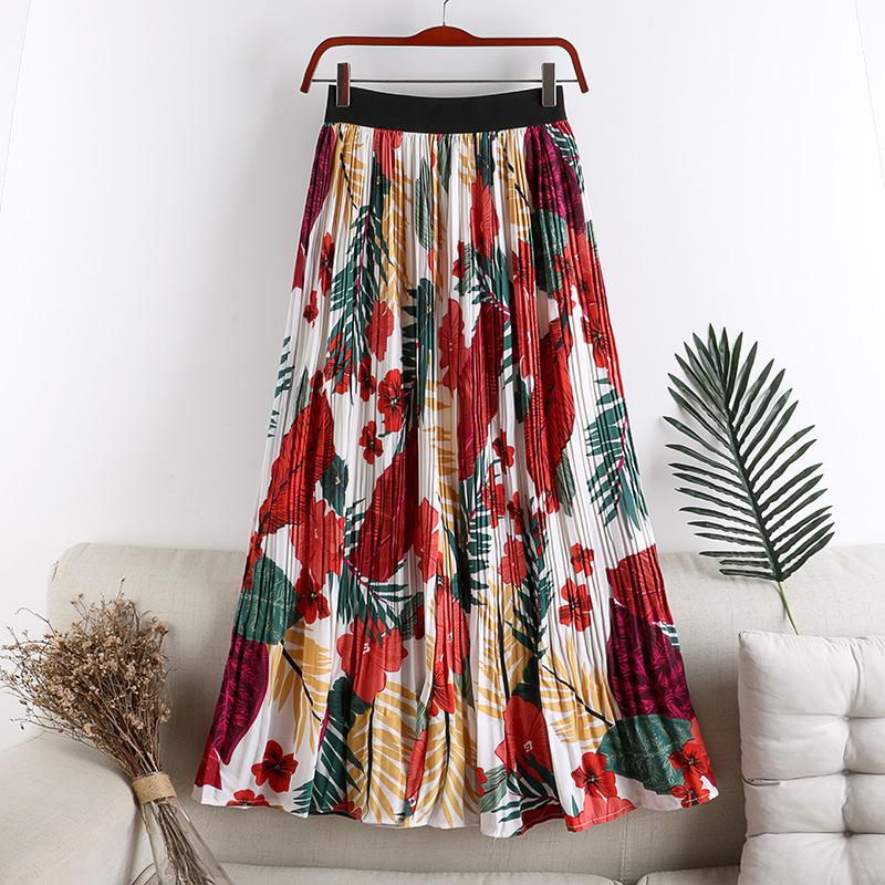 [EWQ] 2020 Summer New Vintage Bright Clothes Chiffon Printed Pleated Skirt Korea Style Loose Big Hem Floral Skirts 4 Color QV221