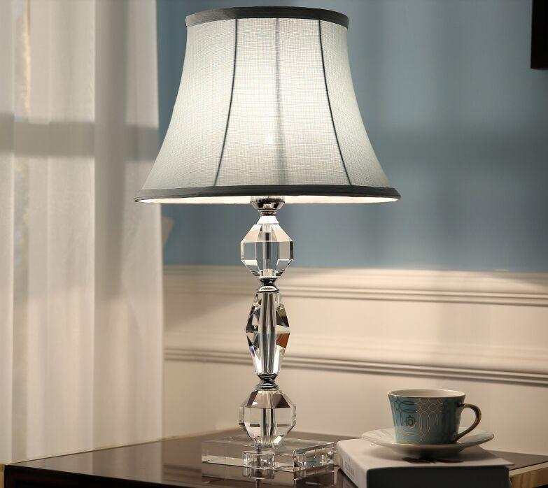 Американский кристалл настольные лампы абажур ткани стол свет роскошный отель кабинет стол освещение спальня комната прикроватная современные светодиодные настольные огни MYY