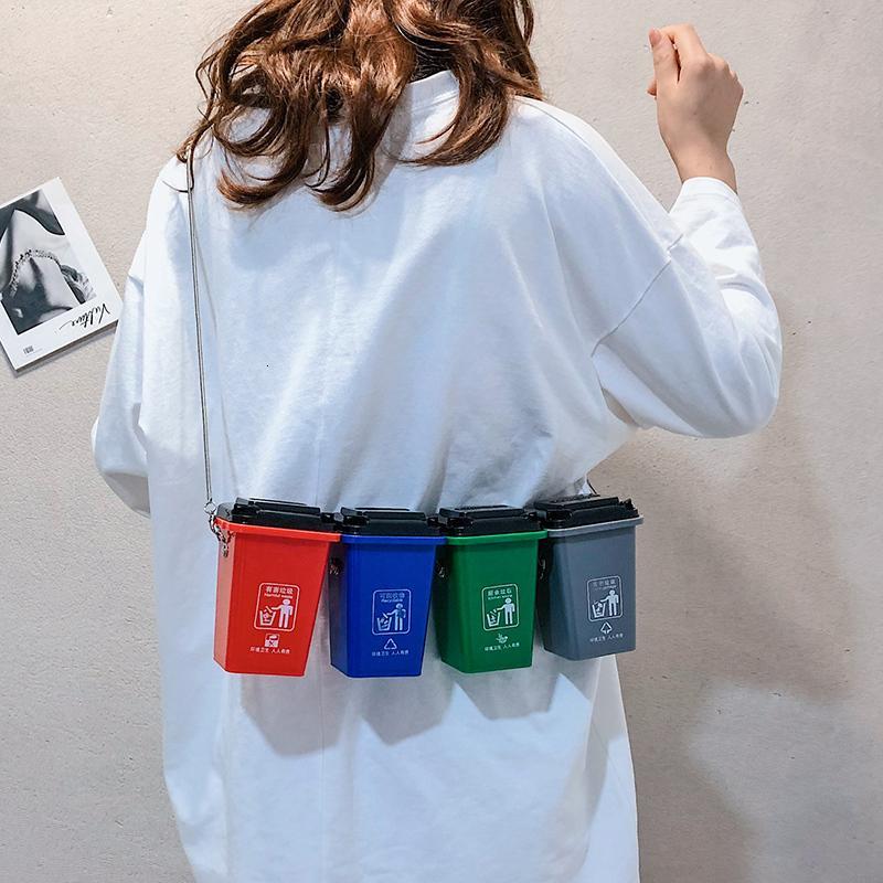 Классификация мусора Мини Симпатичные сумки посыльного для женщин 2019 Моды четыре цвета мусорного бака мешка личности Плечо сумка SH190918