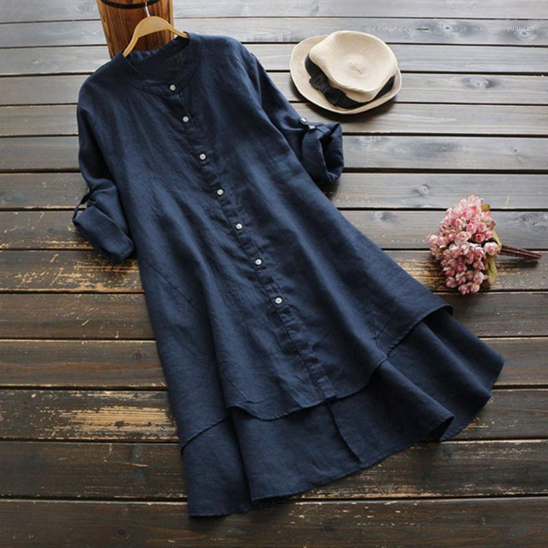 Mulheres casuais solta vestido de linho soild boho vintage senhoras botão manga longa camisa longa mini vestido vestidos de verano 2019 new1