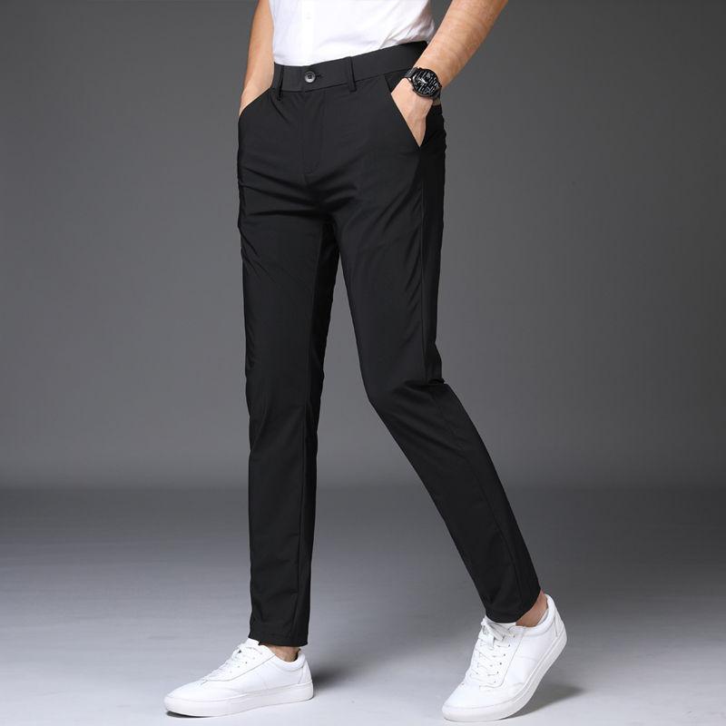 Multi-colorida moda casual calças de seda Ice retas dos homens verão Menswear Fina soltos Zipper cintura Moda Casual Calças L56