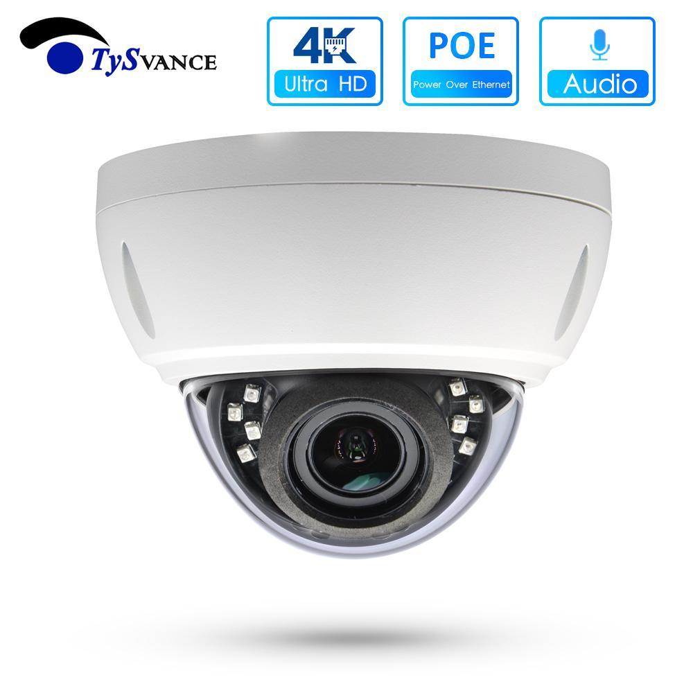 POE NVR ONVIF H.265에 대한 4K POE 돔 IP 카메라 울트라 HD 800 만 화소 방수 오디오 실내 영상 감시 보안 CCTV 카메라