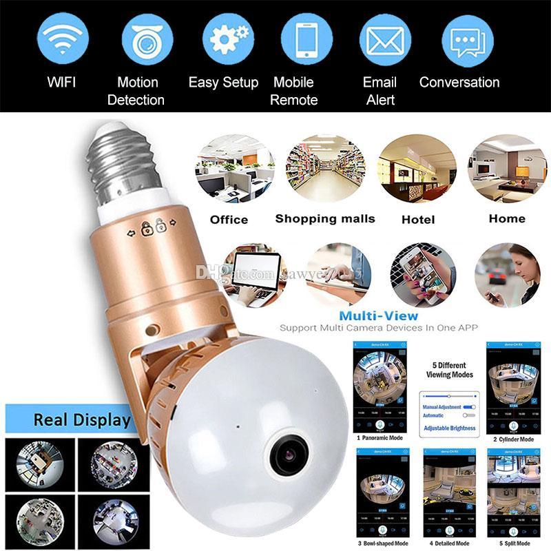 Sin cable de luz LED panorámica de la cámara IP HD 1080P 960P bulbo de lámpara de la cámara de vídeo vigilancia de seguridad CCTV del hogar de la cámara Dos maneras de audio