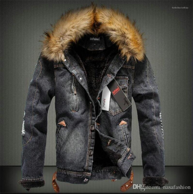 Толстые куртки Модные пальто с длинным рукавом из меха роскошные мужские теплые джинсы верхняя одежда зима мужской дизайнер