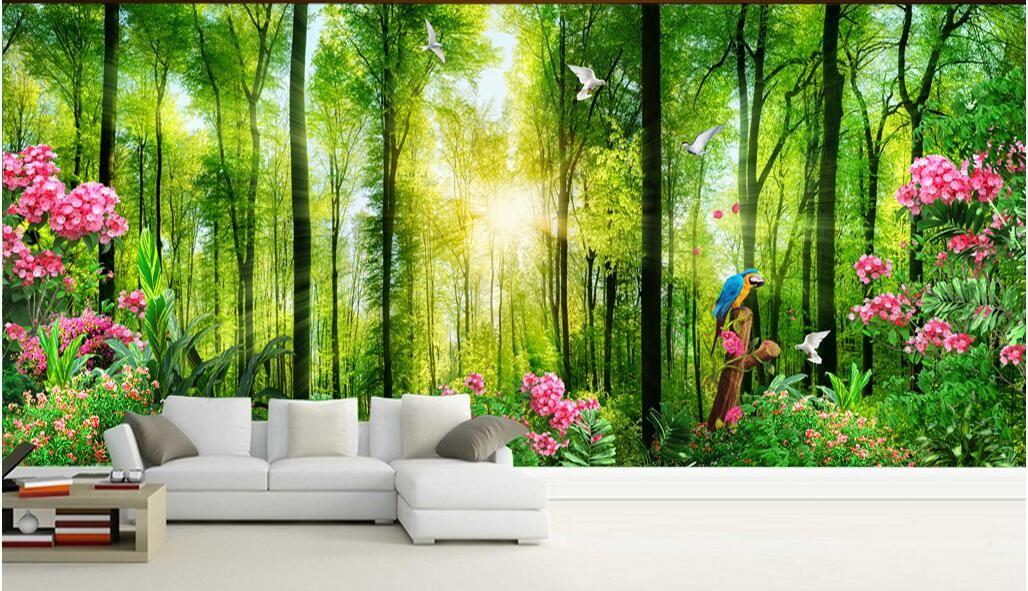 WDBHG personalizado foto mural 3d papel de parede madeiras paisagem verde natureza flor decoração de casa 3d murais de parede papel de parede para paredes 3 d sala de estar