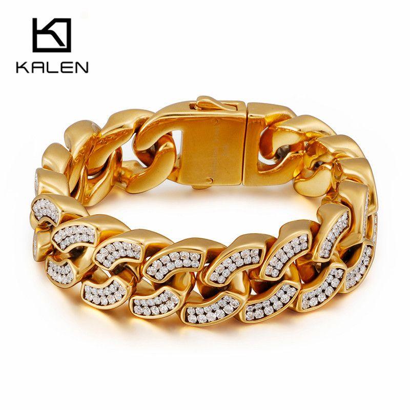 Oro de Dubai acero inoxidable de 23 cm Curban Enlace pulseras de cadena para los hombres Cubic Zirconia 20 mm Anchura Chunky pesada cadena de joyería