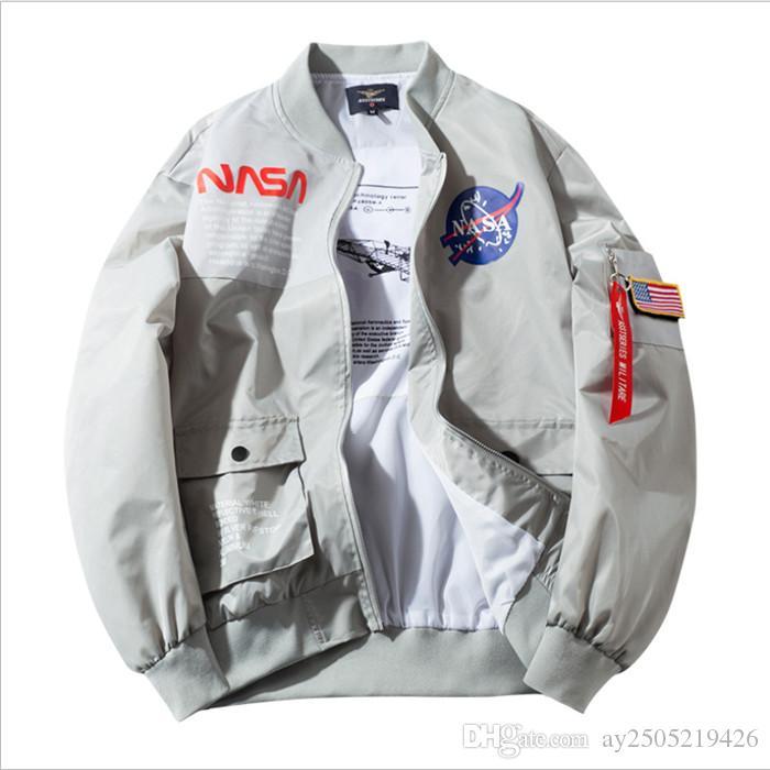 Printemps et automne Veste de baseball pour hommes de la NASA de l'agence spatiale US Space Agency Wear Casual Jacket MA-1 Aviation Flight Tops