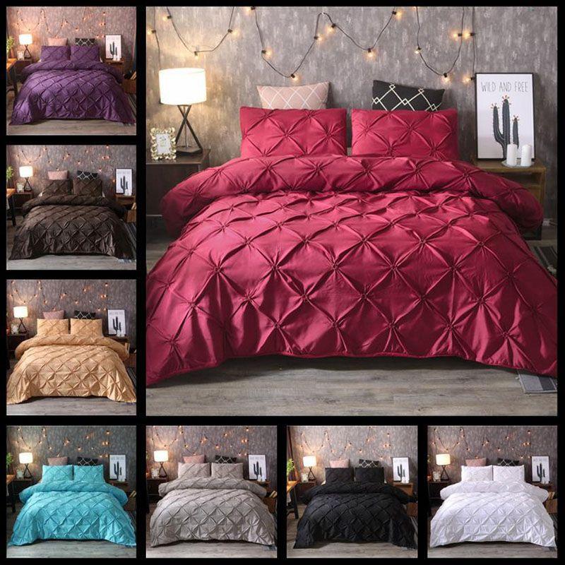 1 명 디자이너 침대 이불 럭셔리 침대 커버 대형 럭셔리 침구 세트 세 조각 세트 유럽과 미국 스타일의 로완 단색 패션