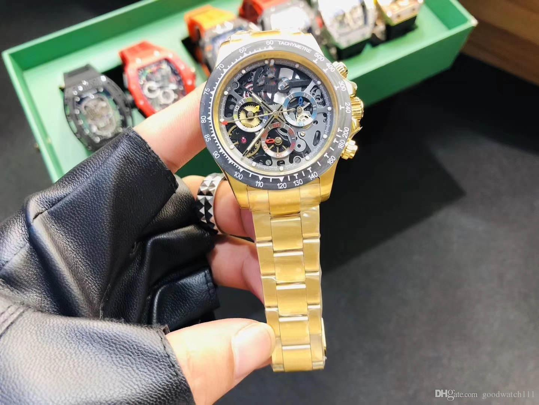 2019 neue Luxus-Männer hohle mechanische Uhr. Mit asiatischem Automatikwerk. Sapphire Spiegel Luminous Herren-Sportuhr