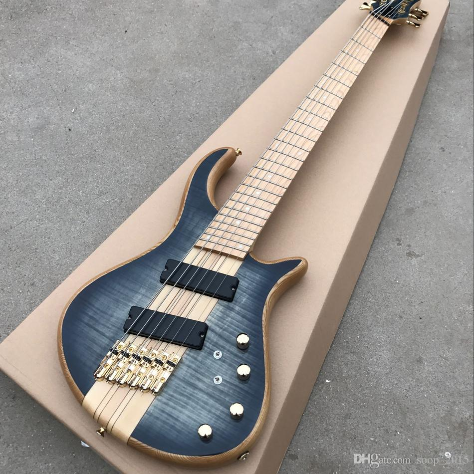 Free shipping 6 Strings Electric Bass Guitar Maple Body one-piece set neck Bass active pickups Guitar Bass Music instruments