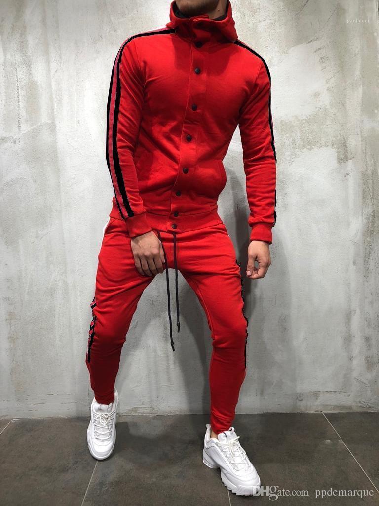 Kapüşonlular Düğmeler Tasarım 2adet Giyim Moda Suits Kıyafetler Hiphop Erkek eşofman Tasarımcı Çizgili Pantolon ayarlar