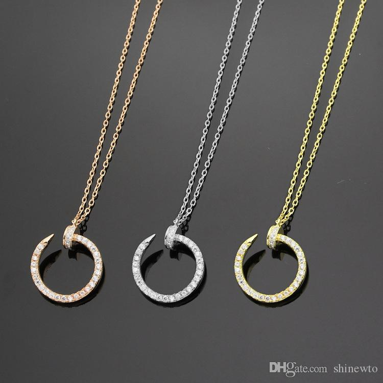 Nuevo Llega Moda Clásico Dama 925 Plata 18K Chapado en oro collares con diamante lleno de uñas colgante de compromiso 3 color