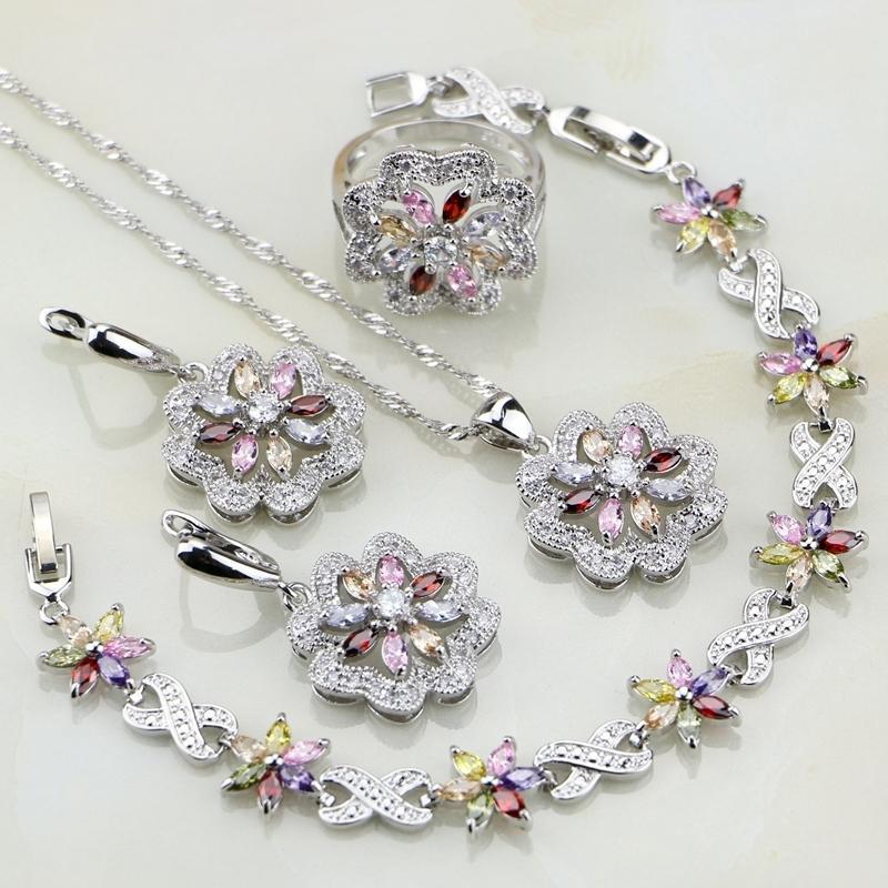 Fiore multicolore zircone 925 I monili d'argento per le donne Orecchini Matrimonio / pendente / anello / braccialetto / collana Set V191128