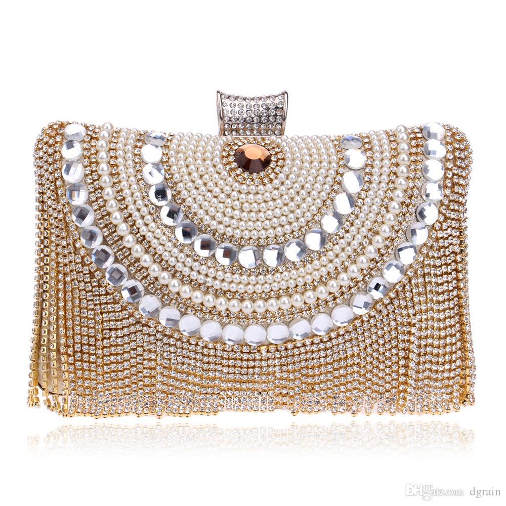 Designer Elegance Geometric Frauen Weiß Perlen Abend Clutch Bag Braut Hochzeit Party Perlen Handtasche und Geldbörse