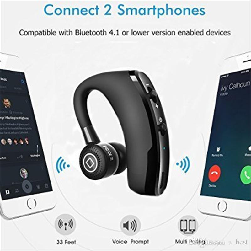 V9 بلوتوث اللاسلكية سماعة يدوي CSR 5.0 الضوضاء الغاء سماعة الأعمال سماعة التحكم الصوتي مع هيئة التصنيع العسكري للسائق الرياضة سماعات الأذن