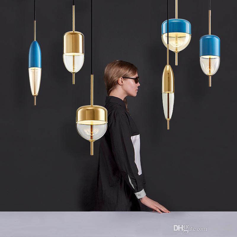 Lampe pendante en verre bleu en forme de goutte bleue nordique moderne LED art déco simple suspension blanche pour salon cuisine restaurant