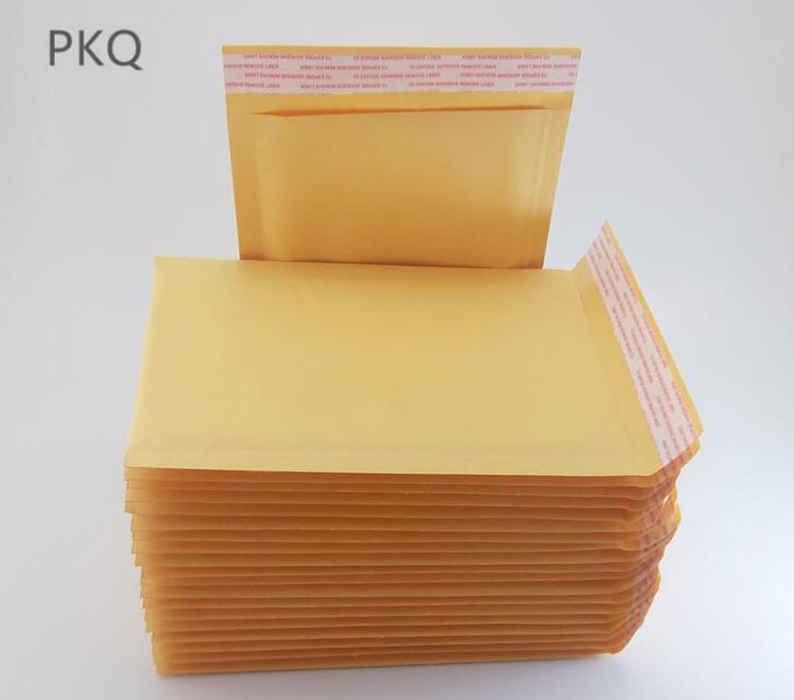 100pcs Pequeños grandes 11 * 15/13 * 21cm Sobres amarillo Kraft burbujea los anuncios publicitarios rellenados envío oficina del bolso de la Escuela de Negocios El sello auto