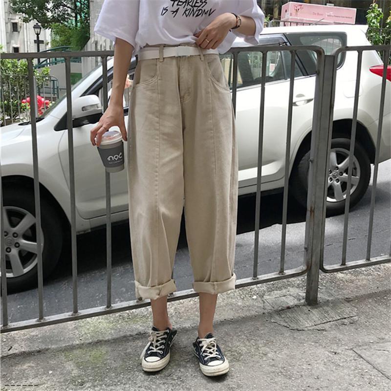 Nouveau Femme desserrées Pantalon large Femmes d'été en vrac Pantalon large jambe Denim Jeans taille haute Vintage Ladies Slim Jeans