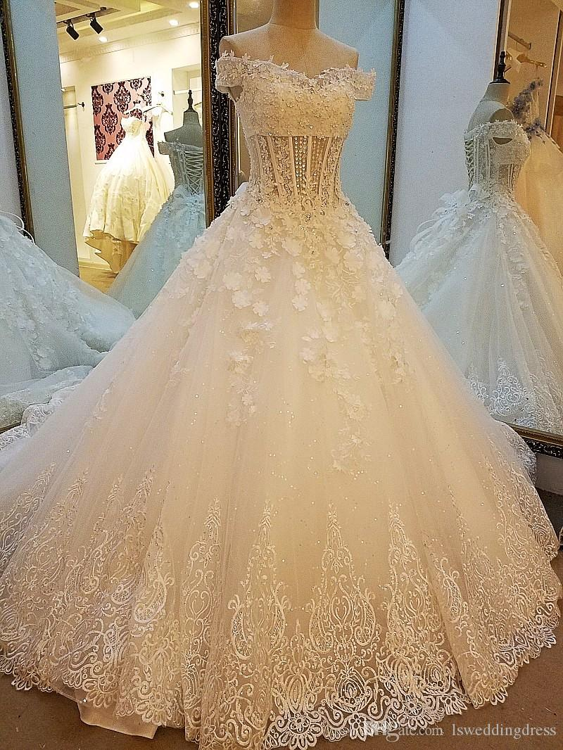 Lace Corset Wedding Dresses Appliques Sweetheart Lace Up Back 3d Flowers Bridal Gowns 2019 With Multi Layer Long Train Wedding Dress Cheap Wedding Dress With Pockets From Lsweddingdress 874 38 Dhgate Com