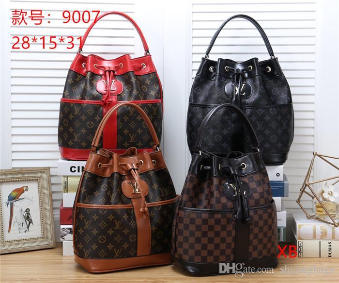4 color fashion high quality letter stitching drawstring handbag women retro high-end hand multi-capacity bucket bag OL out travel handbag