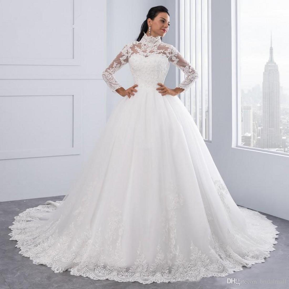 babdf0e8fb0 High Neck Long Sleeves African Wedding Dresses Plus Size 2019 Vintage White  Lace Ball Gown Wedding ...