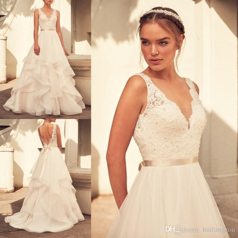 Paloma Blanca Spring 2018 Cheap Wedding Dresses V Neck Lace Applique A Line Bridal Gowns Simple Sleeveless Sweep Train Wedding Dress