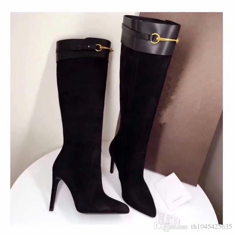 fibbie di disegno delle donne della pelle scamosciata stivali alti acuti lunghi stivali da donna con tacco stivali di nozze vestito da autunno del partito di modo nero pattini di punta a punta