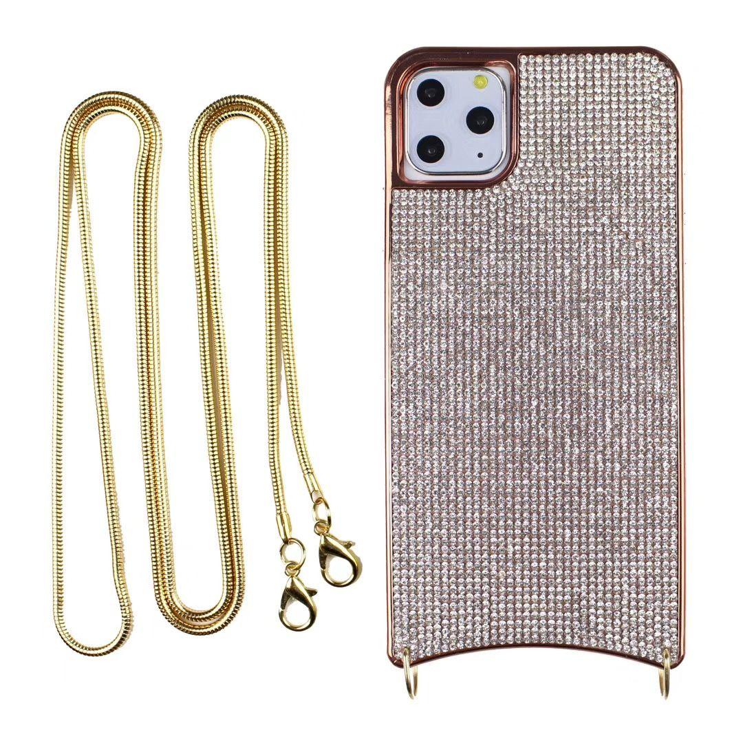 iPhone 11 için Tasarımcı Lüks telefon kılıfları Pro Max XS XR 8 7 6 artı Zincir Askı moda Arka Kapak Bling telefon kapağı kabuk ile yumuşak çanta