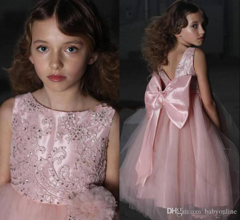 Pink Hot Sale Girl's Pageant Dresses Embroidery Satin Ruffles Kids Girls Formal Occasion Princess Flower Girl Dresses With Big Bow Sash