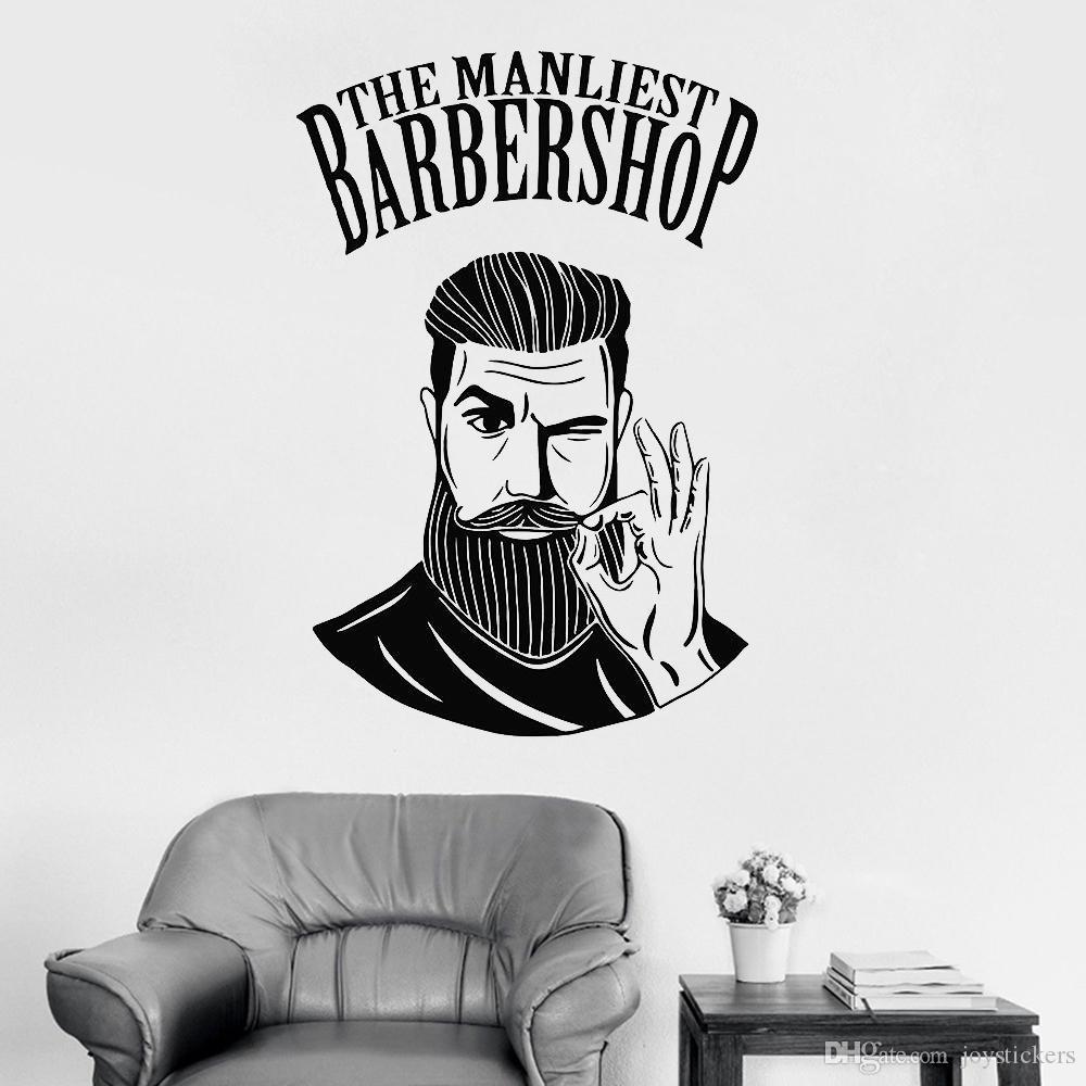 Hot Men Barbershop Sign Wall Stickers Mural Barber Shop Logo Sticker Window Decal Decor Wall Decal For Hair Salon Rmovable